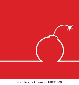 bomb vector in red color illustration