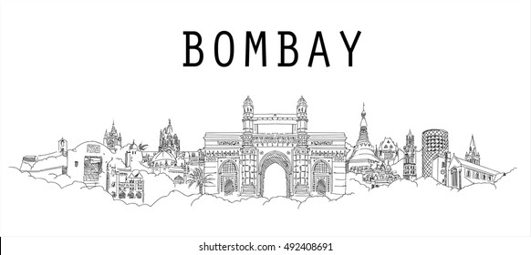 Bombay city vector panoramic sketch drawing silhouette