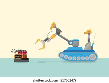 Bomb-disposal Robot  or Explosive Ordnance Disposal EOD Flat Concept illustration