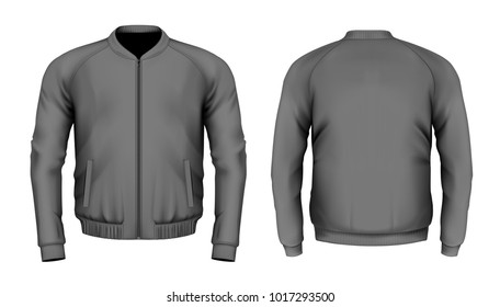 Bomber jacket in black. Front and back views. Vector illustration.