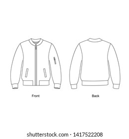 Bomber jacket unisex,  vector illustration.  Jacket with zip pockets in front. Jacket technical drawing vector.