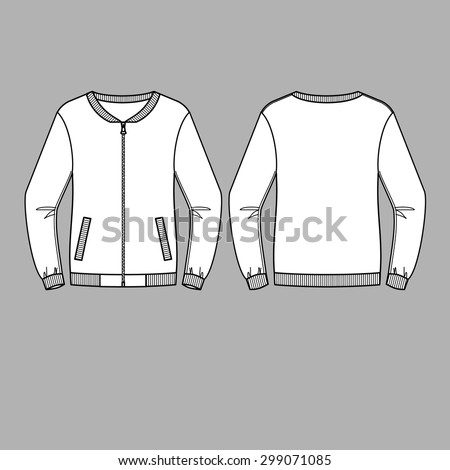 Bomber Jacket Vector Front Back Views Stock Vector Royalty Free