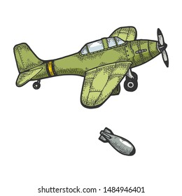 Bomber plane drops bomb color sketch engraving vector illustration. Scratch board style imitation. Hand drawn image.