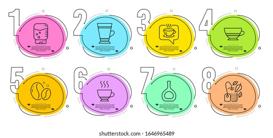 Bombon coffee, Espresso and Coffee beans signs. Timeline steps infographic. Latte, Cognac bottle and Mint bag line icons set. Water cooler symbol. Brandy alcohol, Mentha tea. Vector