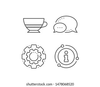 Bombon coffee icon. Chat bubble, info sign elements. Hot drink sign. Beverage symbol. Linear bombon coffee outline icon. Information bubble. Vector
