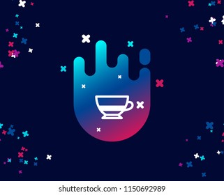Bombon coffee icon. Hot drink sign. Beverage symbol. Cool banner with icon. Abstract shape with gradient. Vector