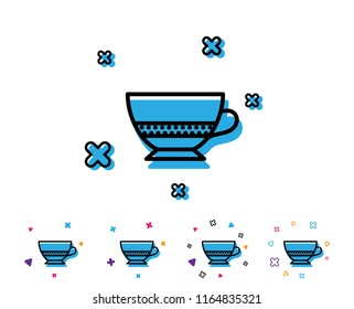 Bombon coffee icon. Hot drink sign. Beverage symbol. Line icon with geometric elements. Bright colourful design. Vector