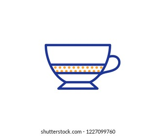 Bombon coffee icon. Hot drink sign. Beverage symbol. Colorful outline concept. Blue and orange thin line color icon. Bombon coffee Vector