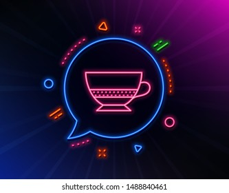 Bombon coffee icon. Neon laser lights. Hot drink sign. Beverage symbol. Glow laser speech bubble. Neon lights chat bubble. Banner badge with bombon coffee icon. Vector