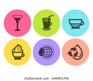 Bombon coffee, Martini glass and Cocktail icons simple set. Cappuccino cream, World water and Recycle water signs. Cafe bombon, Wine. Food and drink set. Flat bombon coffee icon. Circle button. Vector