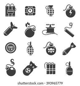 Bombs and grenades, mines and explosives icons. Vector illustration