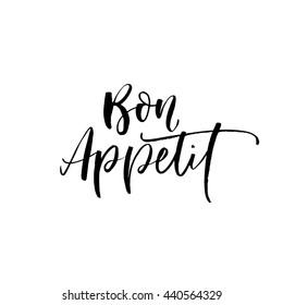 Bon appetit card. Hand drawn lettering background. Ink illustration. Modern brush calligraphy. Isolated on white background.