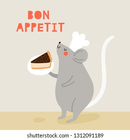 Bon Appetit - cute vector illustration. Cute Mouse in a Cook Hat with a piece of cake. Funny animal character.