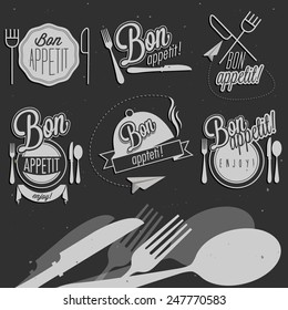 Bon Appetit! Enjoy your meal! Retro vintage style hand drawn typographic symbols for restaurant menu design. Set of Calligraphic titles and symbols. Fast food. Meal lettering collection.