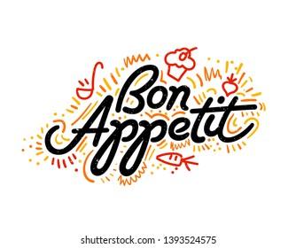 Bon appetit. Food Poster Print Lettering. Lettering kitchen cafe restaurant decoration. Hand drawn vector illustration.