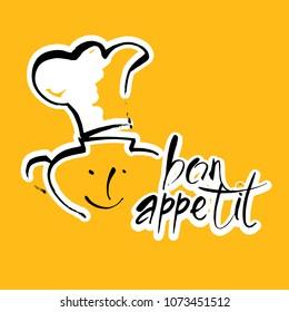 Bon appetit graphic. Vector template logo.