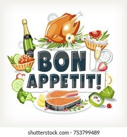 bon appetit label header lettering food cooked dishes festive holiday celebration