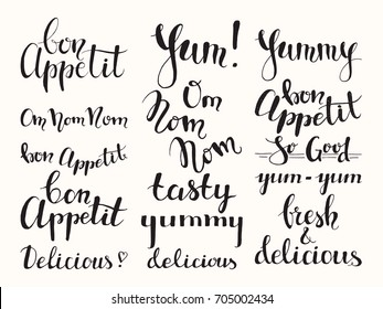 Bon appetit, tasty, delicious, fresh, yummy, yum-yum brush typography. Modern food label & cooking lettering design for menu, flyer, banner, poster, sticker, packaging templates. Isolated vector set.