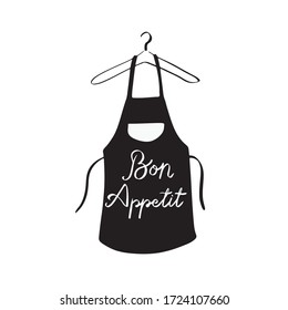 Bon appetite curly lettering with black apron illustration hanging in hanger. Hand drawn vector illustration. Perfect for logo, label, badges, icon. Isolated white and black