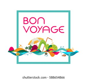 Bon Voyage - banner, tropical vacation concept, vector template illustration