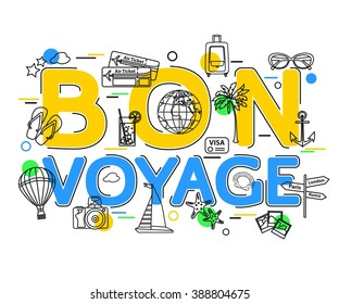 Bon Voyage Concept with vector icons and elements