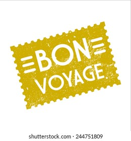 Bon voyage, grunge stamp, vector illustration