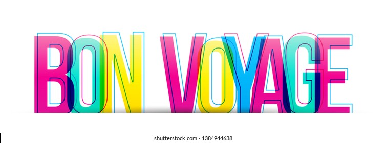 Bon Voyage. Have a nice trip. Flat design typography banner. Vector illustration