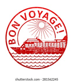 Bon voyage - rubber stamp with the silhouette of a cruise ship in the sea. Grunge style vector illustration.