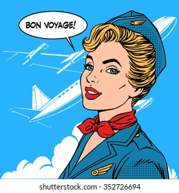 Bon voyage stewardess airplane travel tourism pop art retro style. Business concept success. Aviation transportation and flights