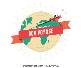 bon voyage template vector/illustration