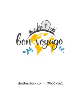 Bon Voyage Travel Icon Hand Drawn Lettering Tourism Adventure Concept Vector Illustration