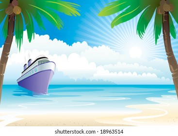 Bon Voyage Vacation vector illustration layers file.