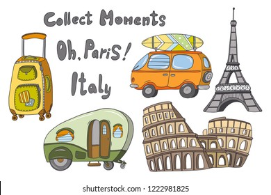 Bon voyage vector kit isolated illustrations: green van, orange car with a surfboard, baggage, Effel tower, Coliseum.