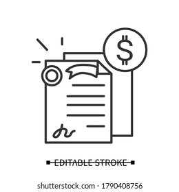 Bonds icon. Investment security papers linear pictogram with dollar currency sign. Concept of personal money investment instrument and stock market capital raising. Editable stroke vector illustration