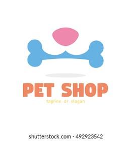 BONE DOG PET SHOP SIMPLE LOGO ICON SYMBOL TEMPLATE