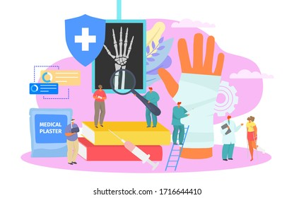 Bone fracture, professional medical treatment vector illustration. Orthopedic care in hospital, broken bone in gypsum. Doctor look at character patient x-ray with broken hand, medical plaster.