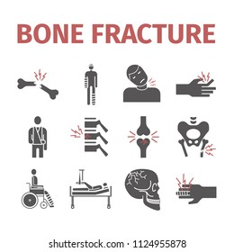 Bone Fractures icons. Treatment. Infographic. Vector illustrations