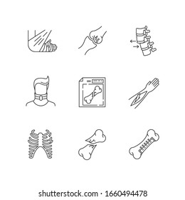 Bone fractures pixel perfect linear icons set. X-ray scan. Spine dislocation. Surgery. Open fracture. Customizable thin line contour symbols. Isolated vector outline illustrations. Editable stroke