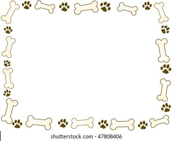 bone and paw frame in sepia tones
