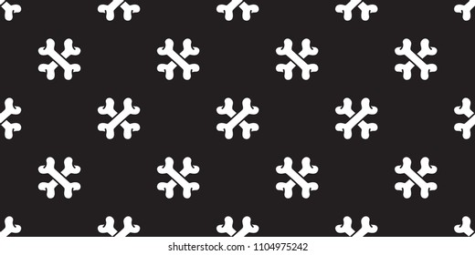 bone seamless pattern cross bone vector dog  pirate halloween isolated background repeat wallpaper black