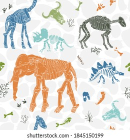 Bones animals and plants. Seamless pattern with skeletons. Seamless pattern witn attritions. Print for fabric.