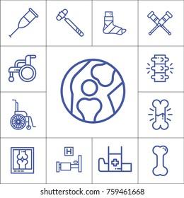 Bones, hospital, traumatology items, isolated flat linear vector icons