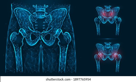 Bones of the pelvis and hip, human anatomy. Pelvic and hip joint pain. X ray of the hip joint made of lines and dots isolated on blue background.
