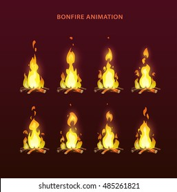 Bonfire animation sprites, vector flame video frames for game design. Fire storyboard.