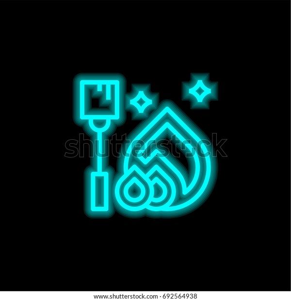 Bonfire blue glowing neon ui ux icon. Glowing sign logo vector