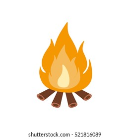 Bonfire Burning On Firewood In The Camp, Camping And Hiking Outdoor Tourism Related Item Isolated Vector Illustration
