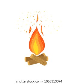 Bonfire burning on firewood, campfire vector Illustration on a white background