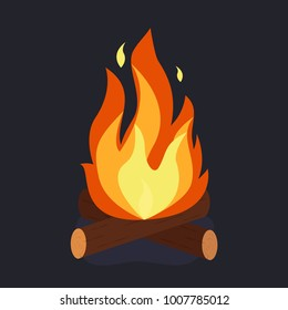 Bonfire and burning woodpile, campfire or fireplace on firewoo. Vector illustration