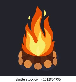 Bonfire and burning woodpile, campfire or fireplace on firewood. Vector