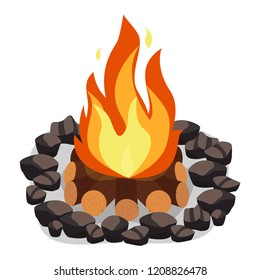 Bonfire, burning woodpile and round of stones, campfire or fireplace on firewood
